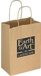 Ribbed Kraft Twist Handled Brown Paper Bags